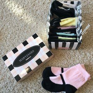 Pastel trumpette Mary Jane socks new in box 12-24m
